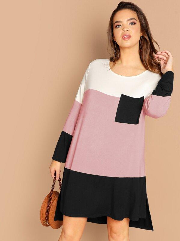 Plus Pocket Patched Cut-and-sew Asymmetrical Dress, Faith Bowman