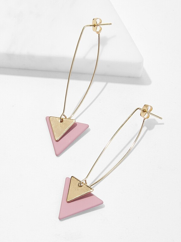 Double Triangle Decor Drop Earrings 1pair, Pink