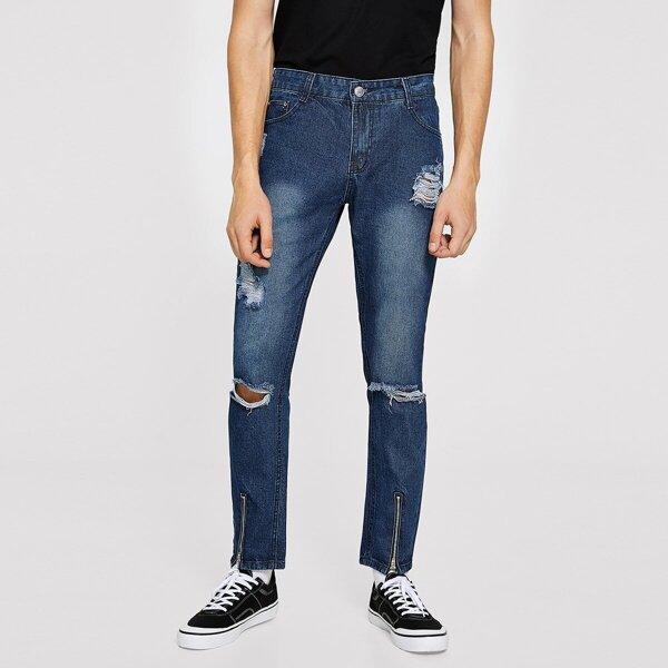 Men Button Waist Ripped Zip Hem Jeans, Blue