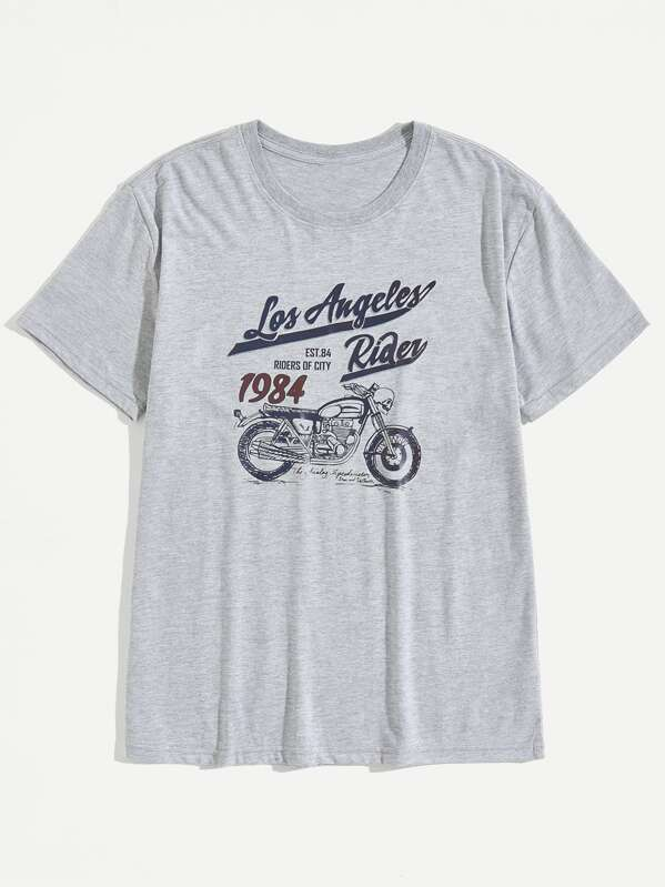 Men Motorcycle And Letter Print Tee