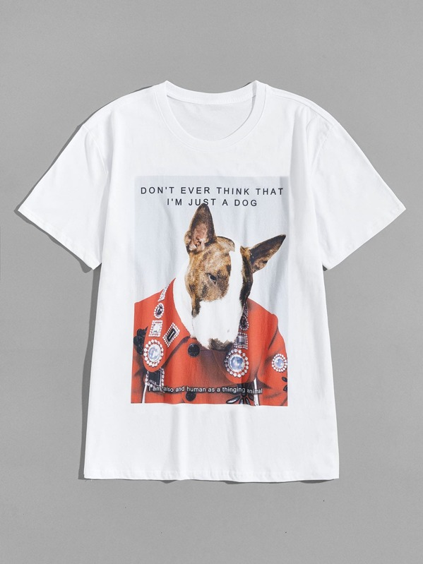 Men Dog And Letter Print Tee
