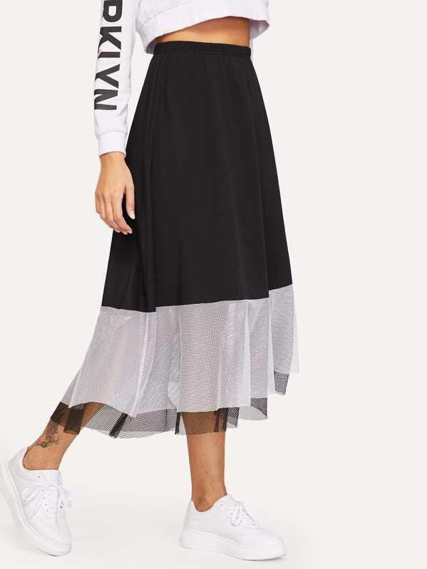 Контрастная юбка с эластичной талией