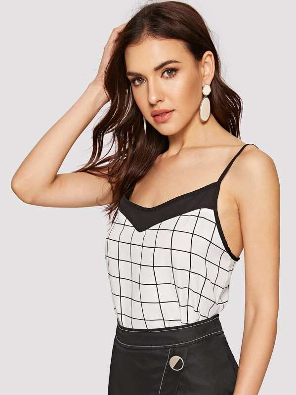 Cut-and-sew Grid Cami Top, Lryna