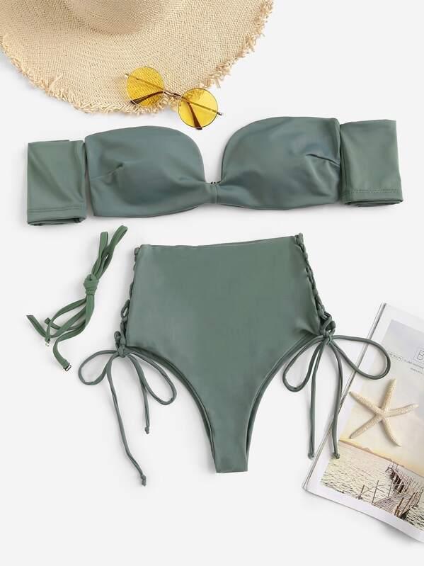 Bardot Top With Tie Side High Waist Bikini