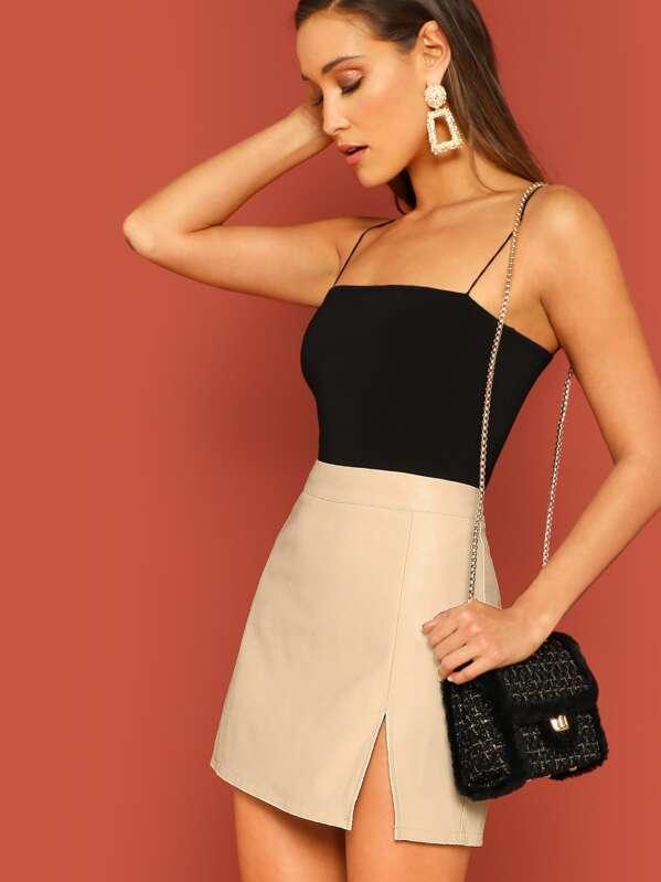 Faux Leather Zip Back Split Hem Solid Skirt, Beige, Anna Herrin