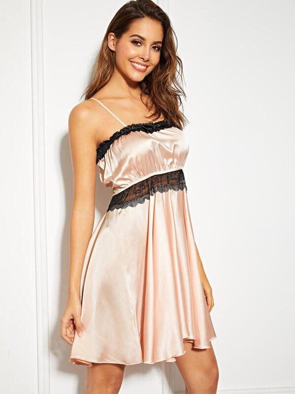 Lace Insert Satin Cami Dress