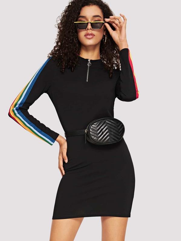 O-ring Zip Front Rainbow Striped Tape Pencil Dress, Maiara
