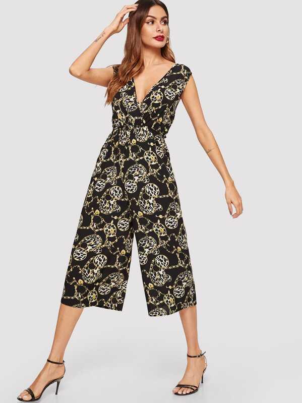 V Neck Chain Print Sleeveless Jumpsuit
