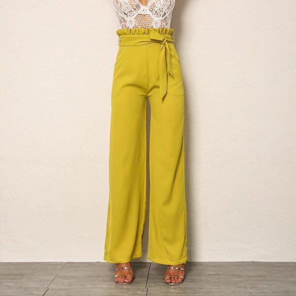 Joyfunear Paperbag Waist Wide Leg Belted Pants, Yellow