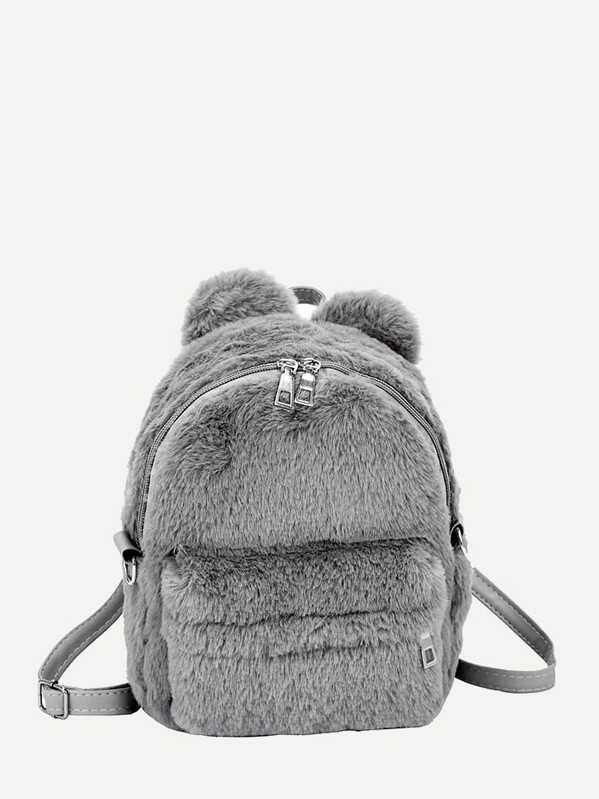 Faux Fur Fluffy Backpack, Grey