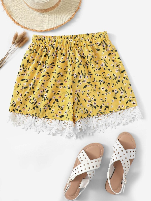 Laser Cut Calico Shorts, null