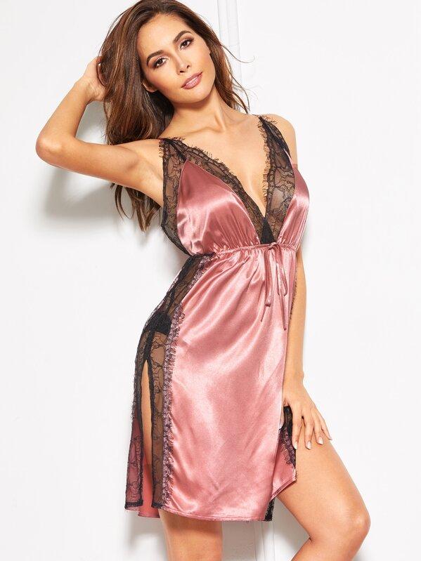 Lace Insert High Split Satin Cami Dress