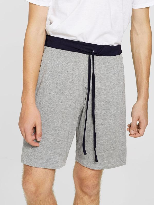 Men Drawstring Waist Sleep Shorts