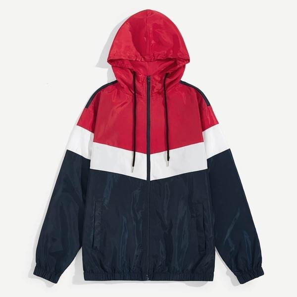 Men Zip Up Drawstring Hooded Color-block Jacket, Multicolor
