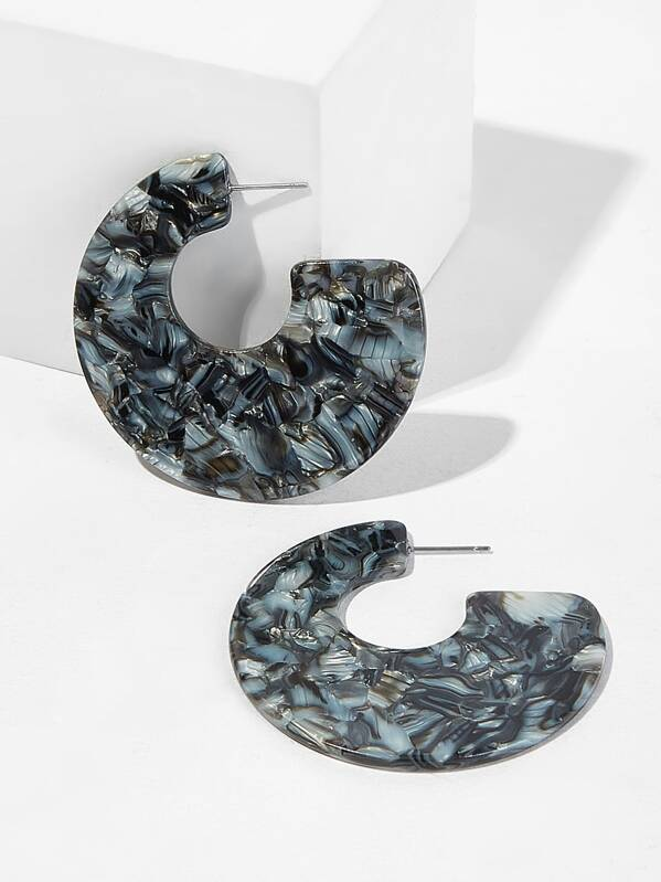 Marble Pattern Cut Hoop Earrings 1pair, null