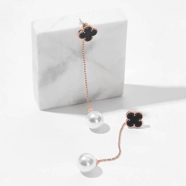 Clover & Faux Pearl String Drop Earrings 1pair