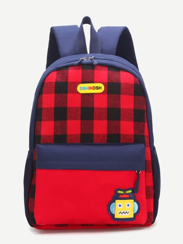 Kids Plaid Pocket Front Backpack, null