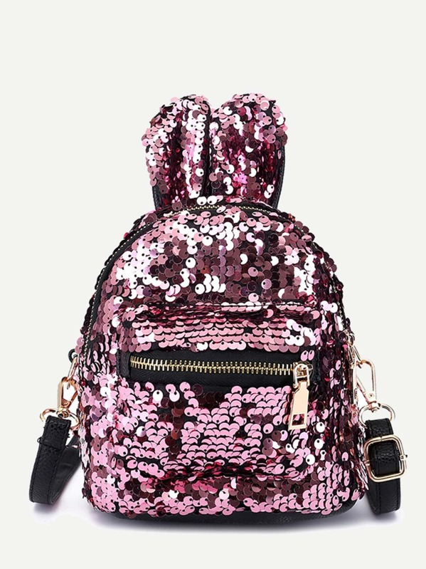 Kids Sequins Decor Pocket Front Backpack, null