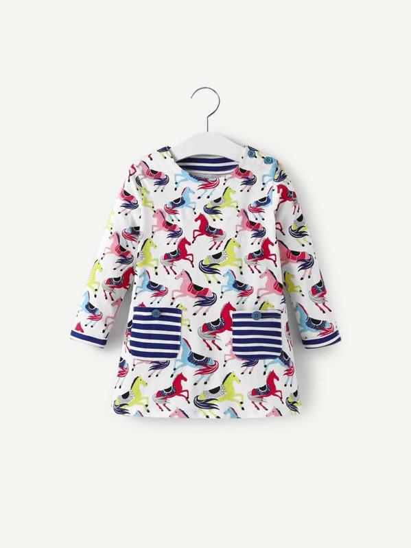 Toddler Girls Horse Print Striped Pocket Dress