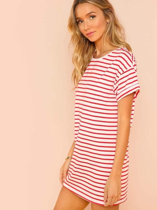 Striped Print T-shirt Dress