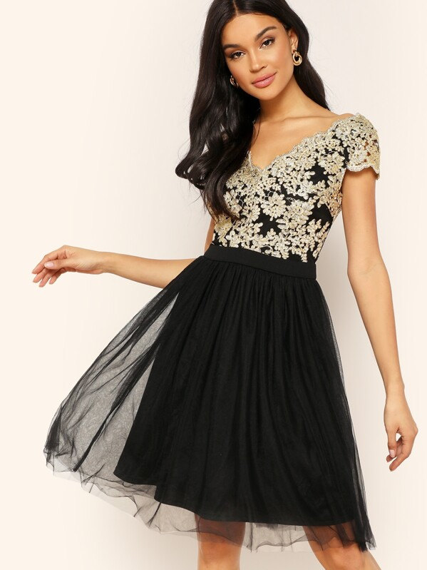 Floral Embroidery Mesh Overlay Dress, Juliette