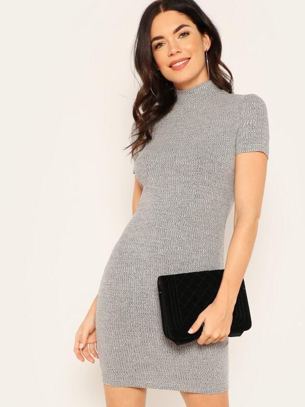 Mock-neck Rib-knit Pencil Dress