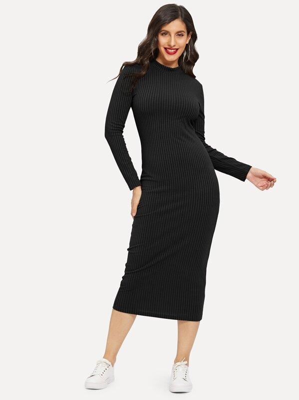 Mock-neck Rib-knit Solid Pencil Dress