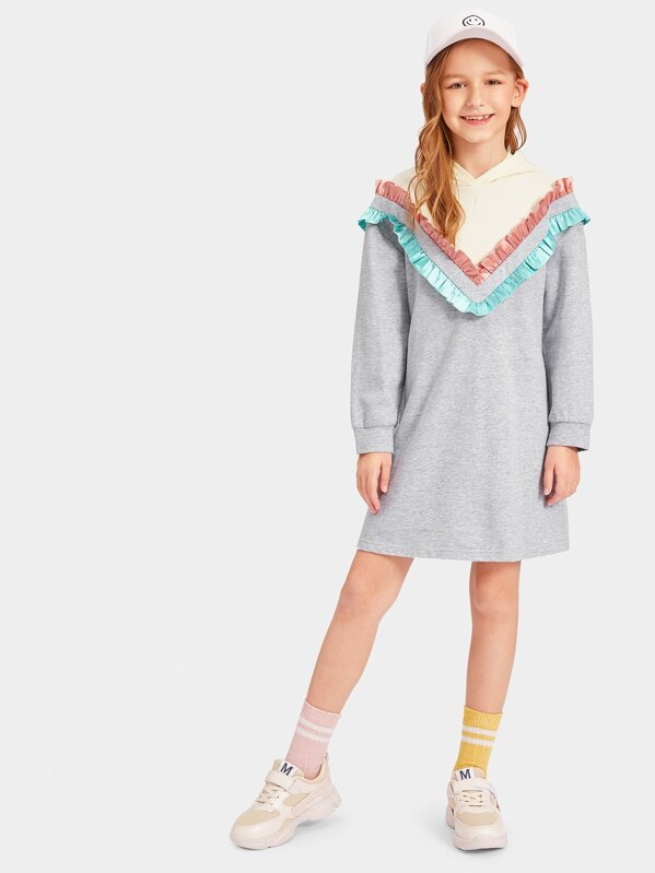 Girls Chevron Frill Trim Hooded 2 In 1 Dress
