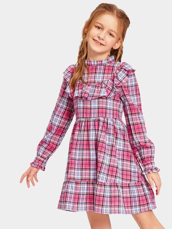 Girls Mock-neck Ruffle Embellished Plaid Dress, Sashab
