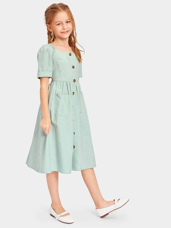 Girls Zip Back Pocket Front Square Neck Shirt Dress, Sashab