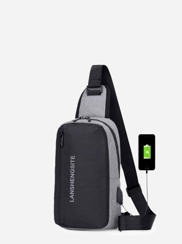 Men USB Charging Port Bum Bag, null