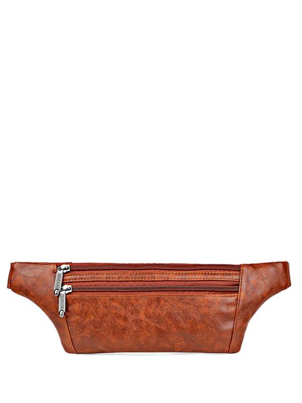 Men PU Pocket Front Bum Bag, null