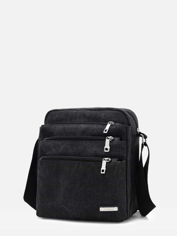 Men Zipper Front Crossbody Bag, null
