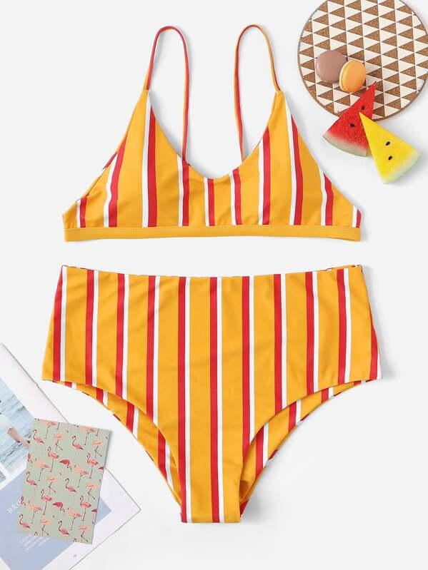 Plus Striped High Waist Bikini Set, null