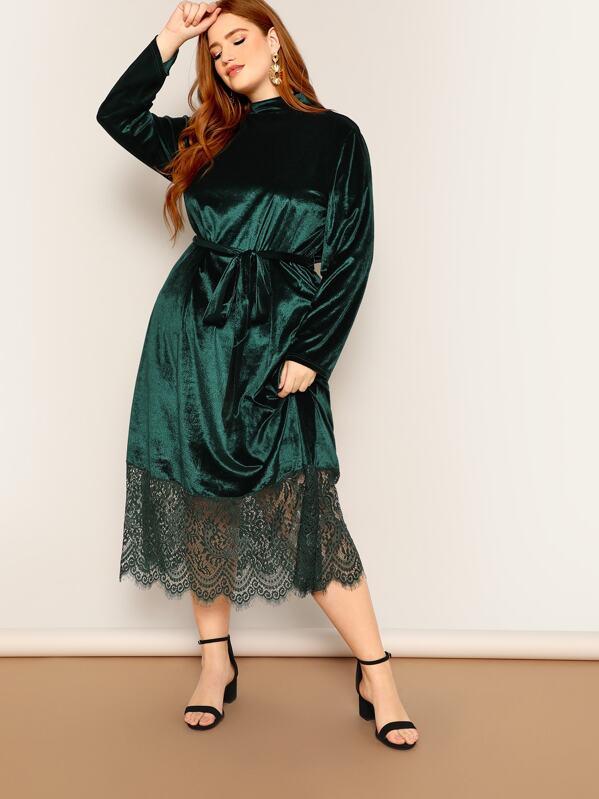 Plus Mock Neck Lace Hem Velvet Dress With Belt, Bree Kish