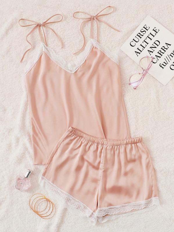 Lace Trim Satin Cami Pajama Set