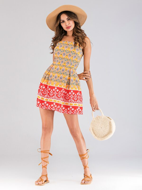 Geo And Floral Print Cami Dress, Andy