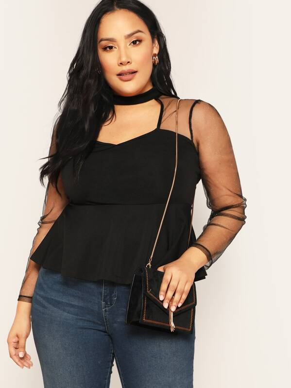 Plus Open Front Sheer Mesh Sleeve Peplum Top