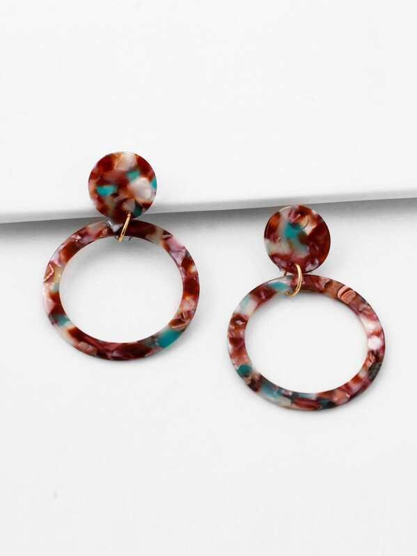 Marble Pattern Hoop Drop Earrings 1pair, null