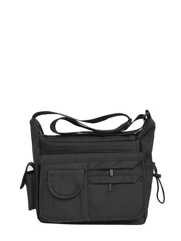 Men Pocket Side Oxford Crossbody Bag, null