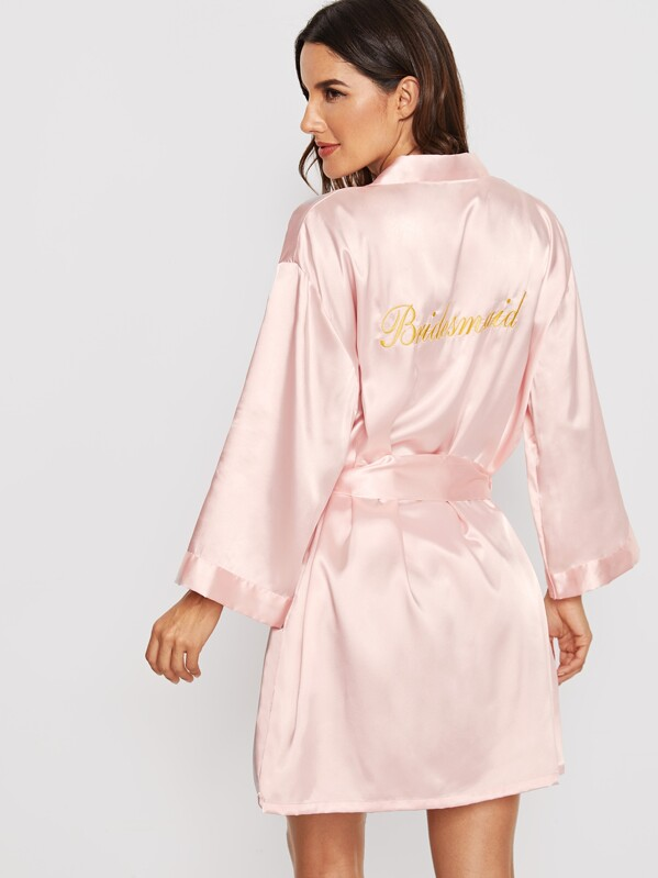 Letter Embroidered Self Belted Satin Bridesmaid Robe, Juliana