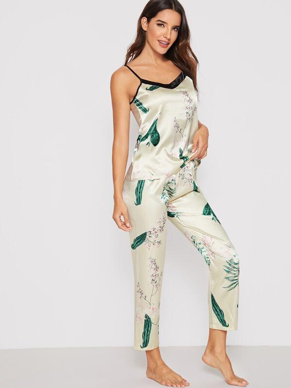 Floral & Leaf Print Satin Cami PJ Set