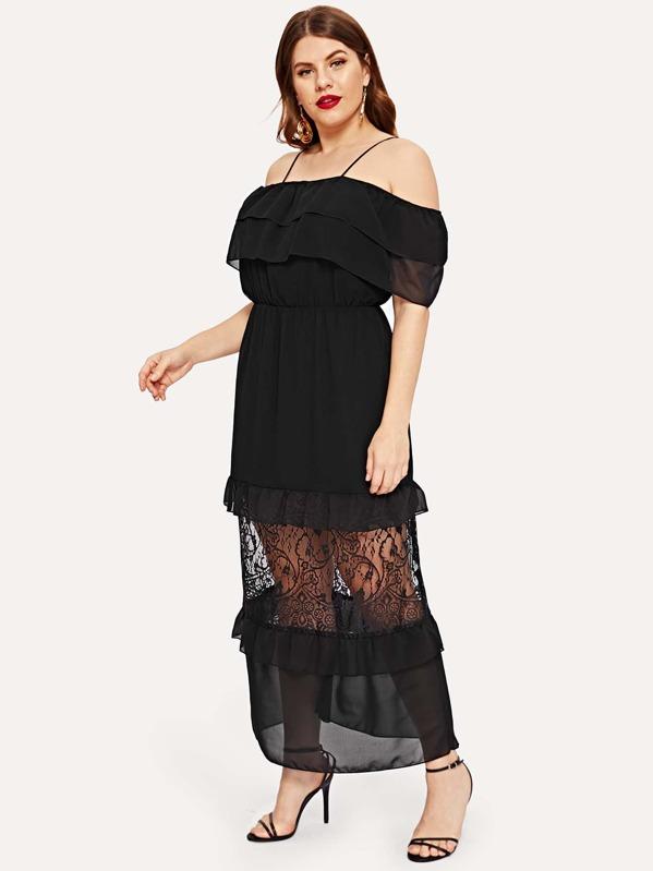 Plus Contrast Lace Flounce Trim Cami Dress