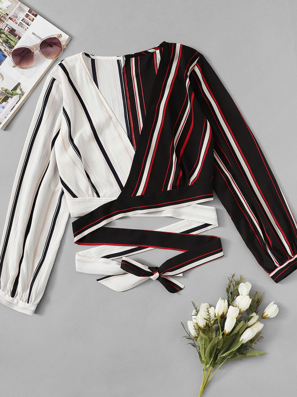 Colorblock Striped Knot Blouse, null