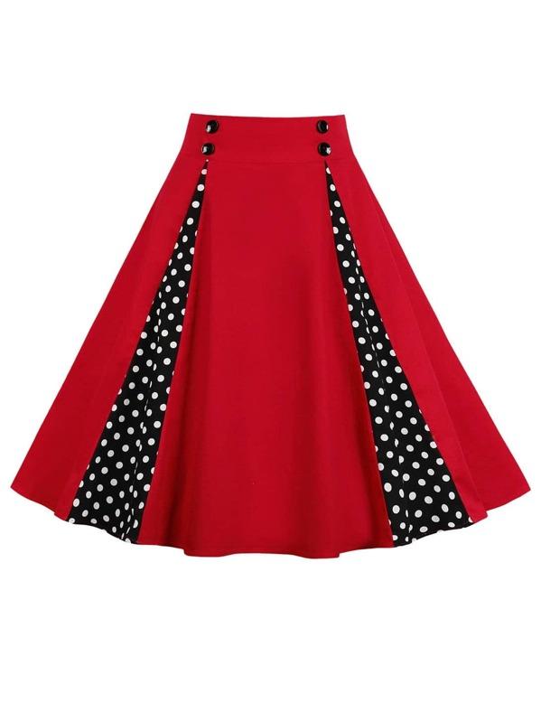 50s контрастная юбка в горошек