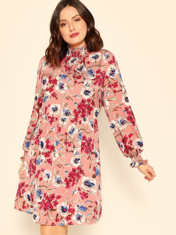Plus Smocked Neck Allover Floral Print Pleated Dress