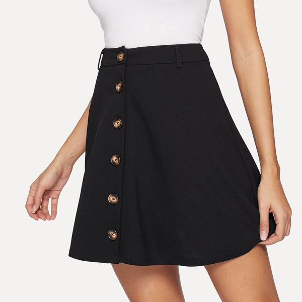 Button Up Solid A-Line Skirt, Black