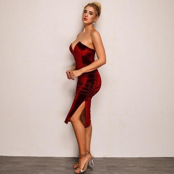 Joyfunear Ruched Slit Side Sweetheart Bardot Velvet Dress, Burgundy