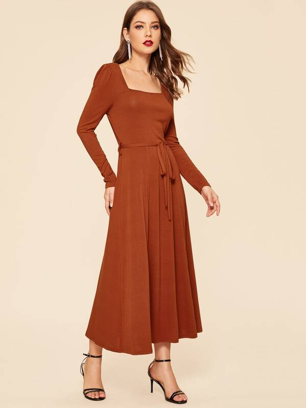 70s Square Neck Belted Waist Fit And Flare Dress