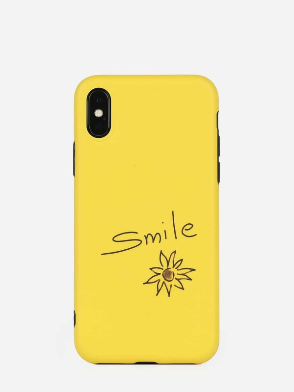 Letter & Flower Pattern iPhone Case, null